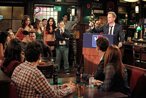 """The Stamp Tramp"" -- Robin helps negotiate Barney'™s (Neil Patrick Harris, right) return to the strip club circuit, on HOW I MET YOUR MOTHER, Monday, Nov. 19 (8:00-8:30 PM, ET/PT) on the CBS Television Network."