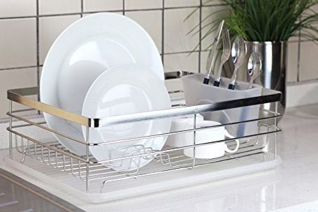 Stylish Sturdy Stainless Steel Metal Wire Medium Dish Drainer Drying Rack (Stainless Steel Chrome & Best Dish Racks Drying Racks Drainers on Amazon