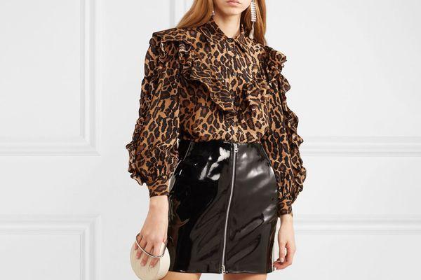 Miu Miu Ruffled Leopard-Print Silk-Georgette Blouse