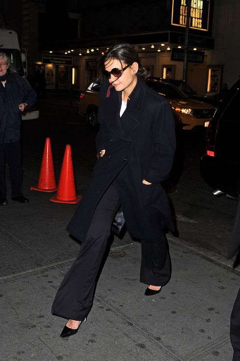 Katie Holmes heads in to The Music Box Theatre on November 05, 2012 in New York City.