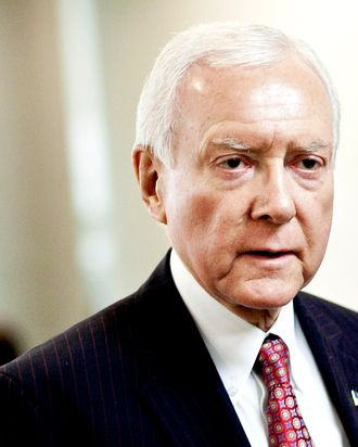 U.S. Sen. Orrin Hatch (R-UT) heads to a weekly policy meeting at the Capitol on March 20, 2012 in Washington, DC. The stage is being set for a fresh budget battle after the House GOP's plan was announced today amid calls from Democrats that their plan is already in place in the form of last year's Budget Control Act.