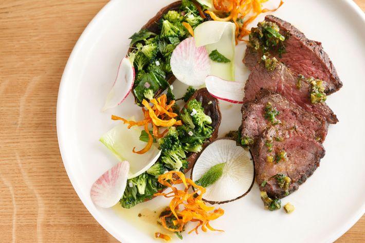 "Happy Valley beef with crispy sweet potato, ""Thai beef"" salad, and broccoli jus."