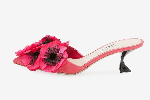 Miu Miu Floral-Embellished Satin Mule Pump