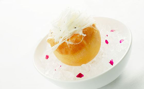 "<b>Grapefruit Givré</b>    <a href=""http://nymag.com/listings/restaurant/boulud-sud/"">Boulud Sud</a>    <i>20 W. 64th St., nr. Broadway; 212-595-1313</i>  When we asked <i>New York</i> restaurant critic Adam Platt what his favorite new dessert was, he didn't hesitate for a second before naming this ""regal creation."" A frozen, hollowed grapefruit is filled with grapefruit sorbet and jam, then topped with a toasted tuille and sesame-studded halvah strands, which is like the ultimate Middle-Eastern version of cotton candy."
