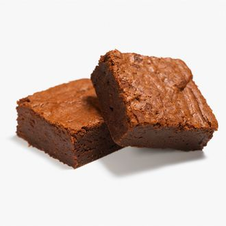 Close up of two chocolate brownies