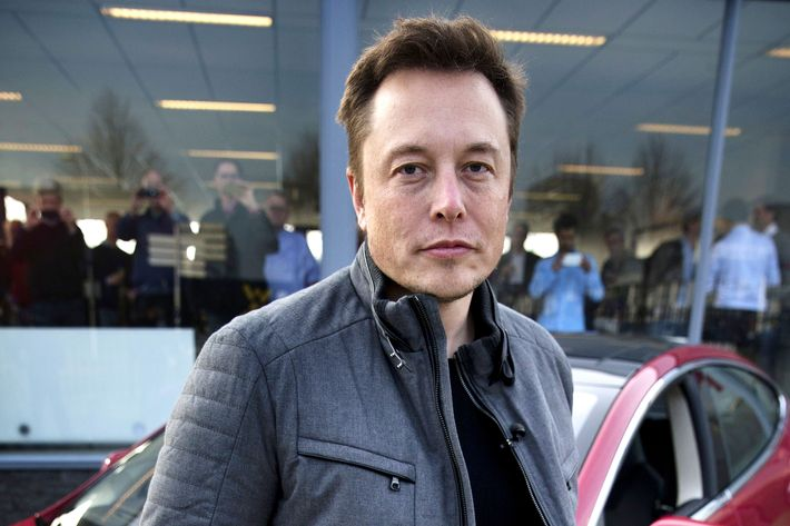 Elon Musk, co-founder and CEO of American electric vehicle manufacturer Tesla Motors, poses with a Tesla during a visit to Amsterdam on January 31, 2014. The European Tesla Service is based in Tilburg and the European headquarters is in Amsterdam.