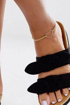 Asos Design Open Heart Anklet