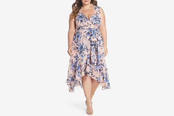 ELIZA J Floral Chiffon High/Low Dress