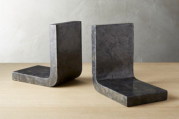 Swoop Black Marble Bookends
