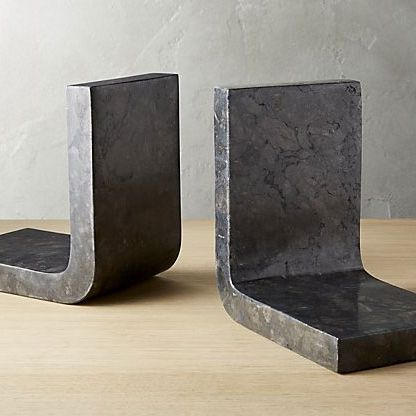 CB2 Swoop Black Marble Bookends