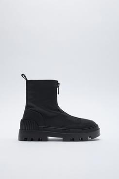 Zara Faux-Fur Zippered Low-Heel Ankle Boots