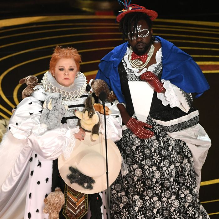 Melissa McCarthy and Brian Tyree Henry presenting Best Costume Design.