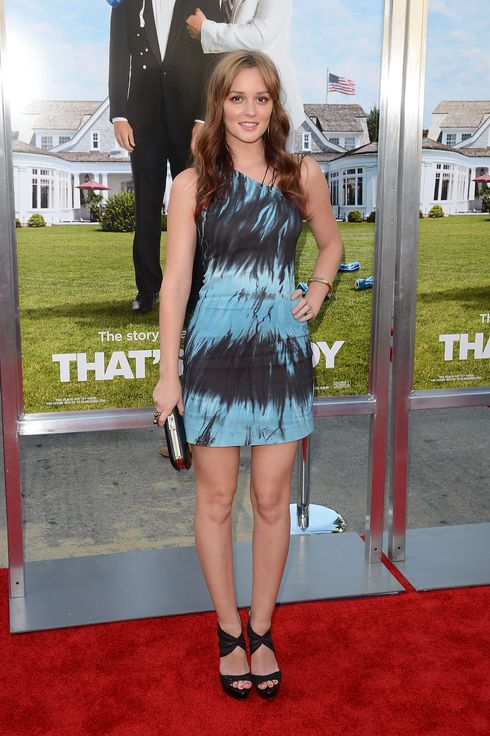 WESTWOOD, CA - JUNE 04:  Actress Leighton Meester arrives at the Los Angeles premiere of 'That's My Boy' held at Regency Village Theatre Westwood on June 4, 2012 in Westwood, California.  (Photo by Jason Merritt/Getty Images)