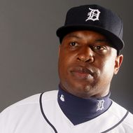 Delmon Young #21 of the Detroit Tigers poses for a portrait on February 28, 2012 at Joker Marchant Staduim in Lakeland, Florida.