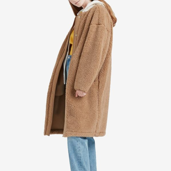 uniqlo pile-lined fleece collarless coat - strategist best fleece coat