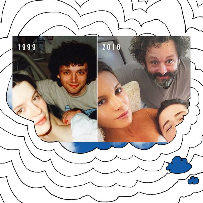 Kate Beckinsale, Michael Sheen, and their daughter.