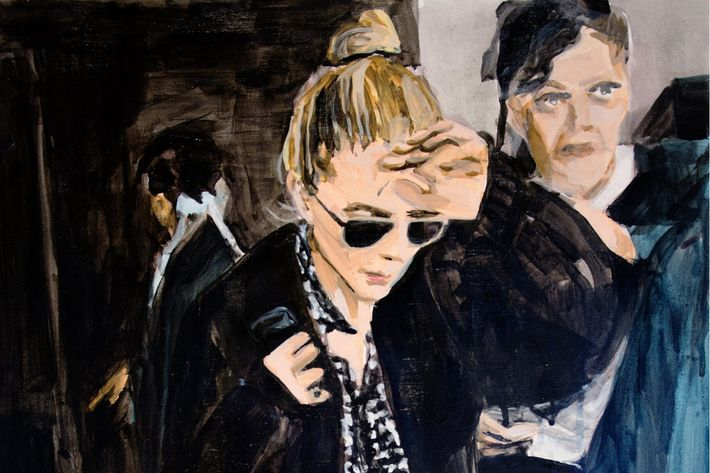 """An Olsen Twin Hiding Behind Her Left Hand"" by Laura Collins"