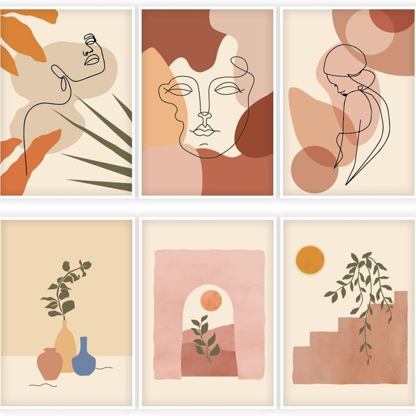 Whaline 6-Pack Abstract Line Art Poster Minimalist Wall Art Prints