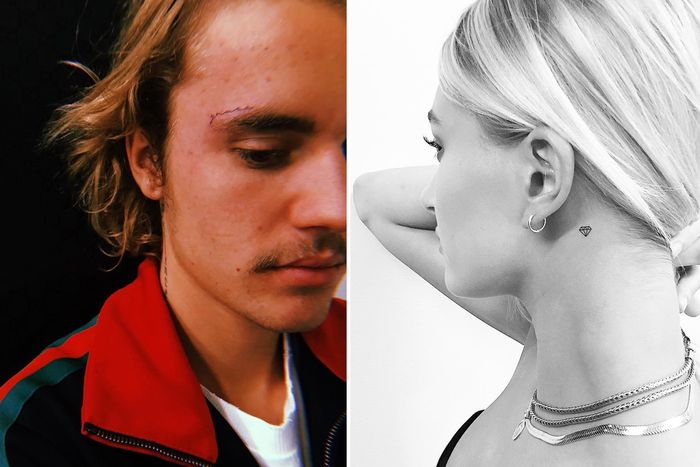 "dc8a149f0 Left: Justin Bieber's ""Grace"" tattoo. Right: Hailey Bieber's diamond tattoo."