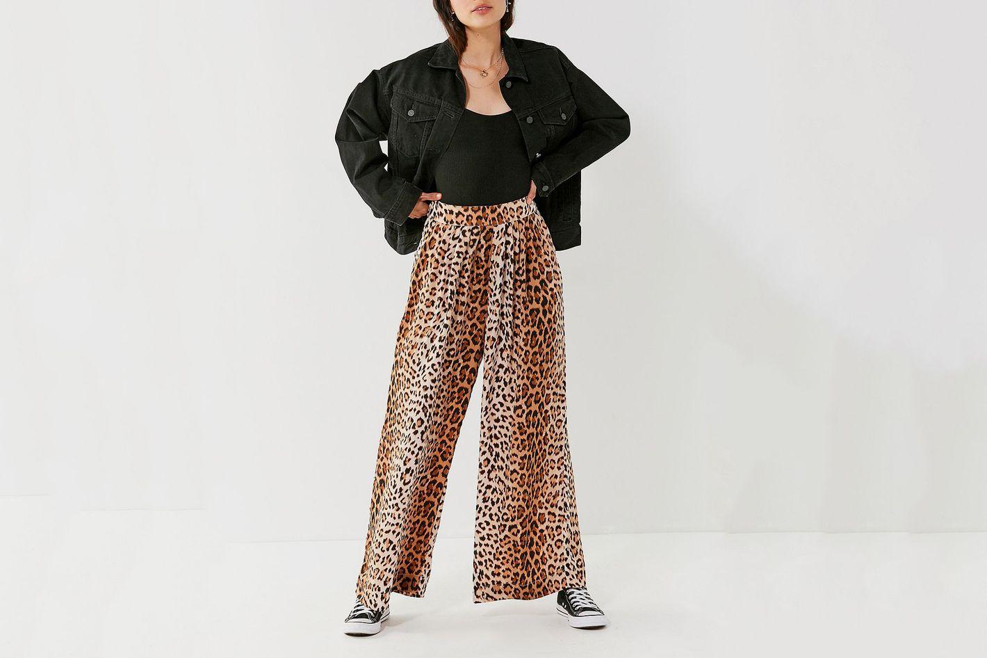 UO Shea Leopard Print Wide-Leg Pants