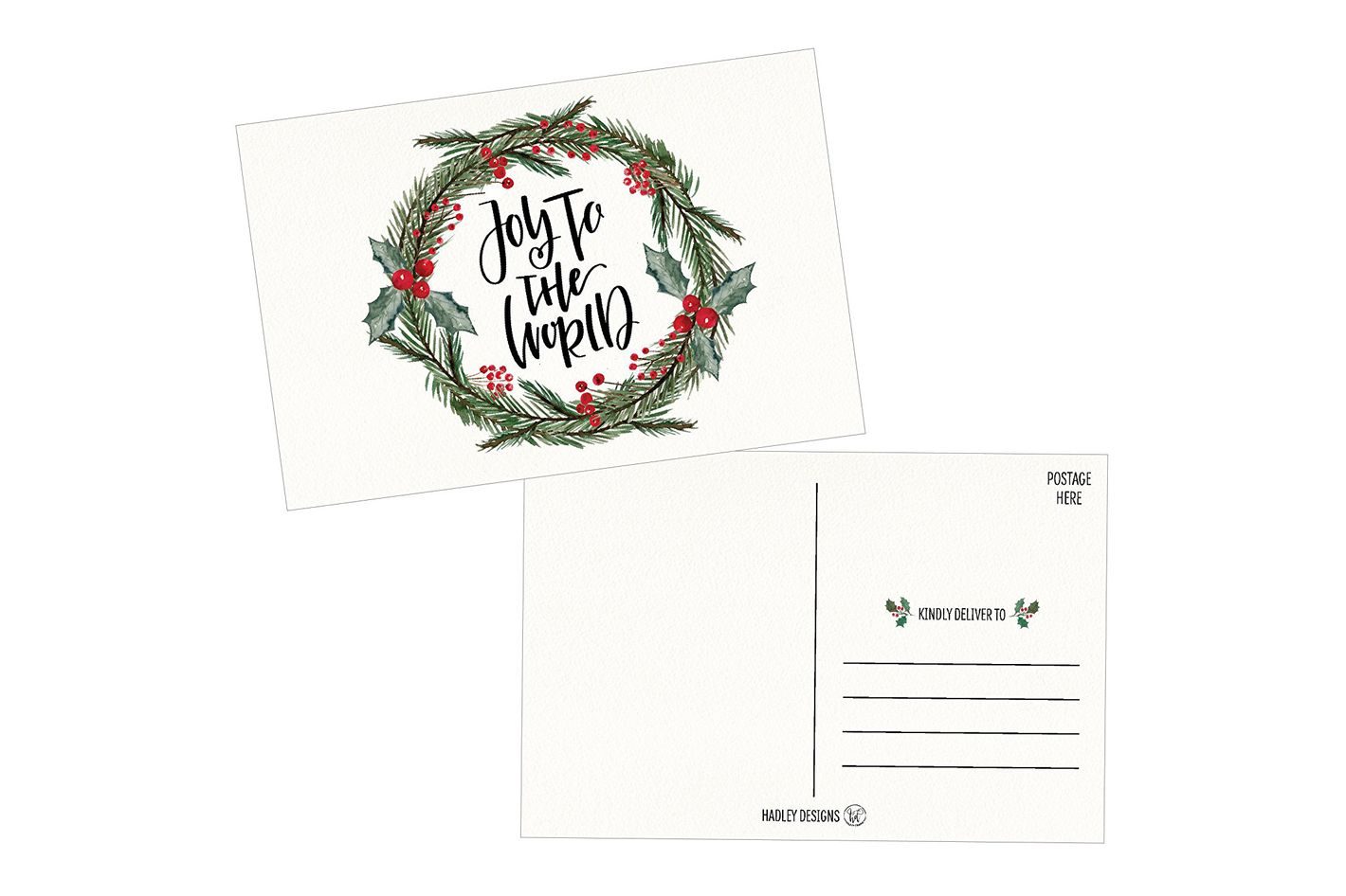 50 Holiday Greeting Cards, Cute Fancy Blank Winter Christmas Postcard Set