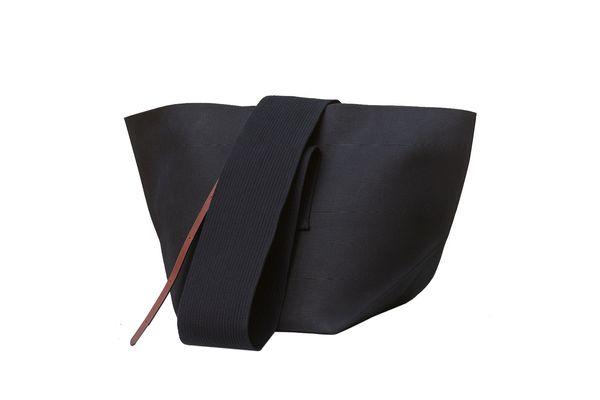Medium Black Belt Bag in Canvas.