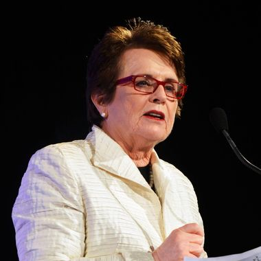 Billie Jean King speaks onstage at the 33rd annual Salute To Women In Sports Gala at Cipriani Wall Street on October 17, 2012 in New York City.