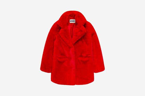 Apparis Sophie Red Faux Fur Coat