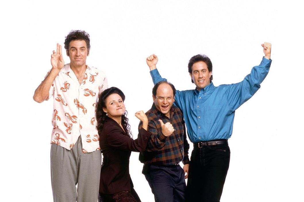 SEINFELD -- Season 6 -- Pictured: (l-r) Michael Richards as Cosmo Kramer, Julia Louis-Dreyfus as Elaine Benes, Jason Alexander as George Costanza, Jerry Seinfeld as Jerry Seinfeld  (Photo by George Lange/NBC/NBCU Photo Bank via Getty Images)