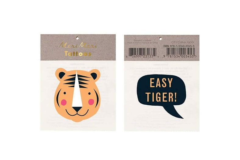 Meri Meri Easy Tiger Temporary Tattoos