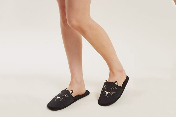 Charlotte Olympia Cat-Face Embroidered Satin Slipper Shoes