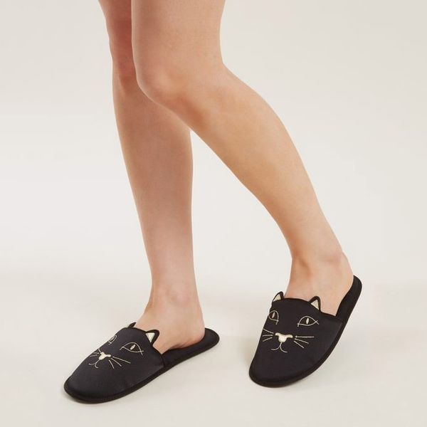 Charlotte Olympia Cat-Face Embroidered Satin Slipper Shoes- strategist best black cat face slides