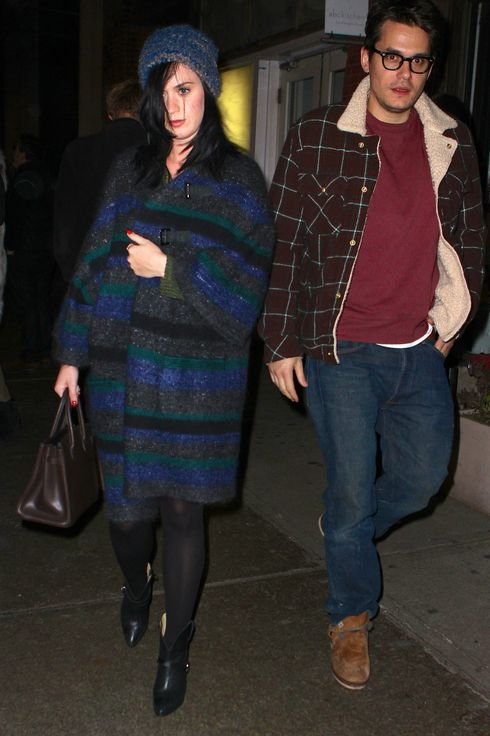 Katy Perry and John Mayer are seen leaving ABC Kitchen in NYC after a romantic dinner date. The pair bundled up as they left the restaurant happily. Pictured: Katy perry and John Mayer