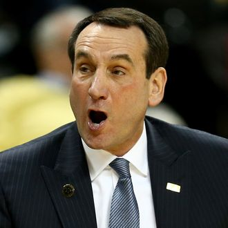 Head coach Mike Krzyzewski of the Duke Blue Devils reacts to a call during their game against the Wake Forest Demon Deacons at Joel Coliseum on March 5, 2014 in Winston-Salem, North Carolina.