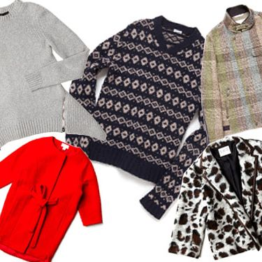 Clockwise from left: Front Sleeve Pullover with Zip Back Peplum by Alexander Wang, Crossover V-neck by Steven Alan, Deck Jacket by rag & bone, Leopard Felt Jacket by SEA NY, and Boiled Wool Coat by H&M.