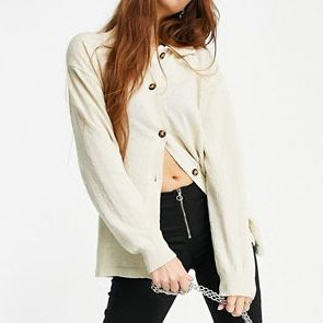 Monki Amy Recycled Knitted Lounge Collared Cardigan