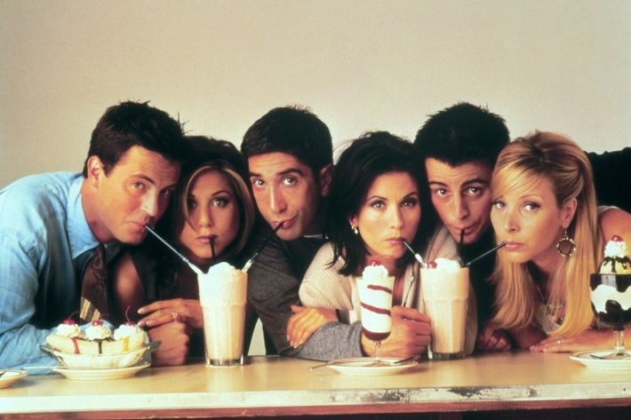 Friends (Friends, TV-Serie, USA 1994-2004) Matthew Perry, Jennifer Aniston, David Schwimmer, Courteney Cox, Matt LeBlanc, Lisa Kudrow (Season 1994/1995) / tv series, sitcom,