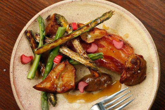 Boar belly, asparagus, rhubarb, sunchokes.