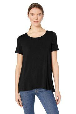 Amazon Essentials Women's Short-Sleeve Scoopneck Swing Tee in black