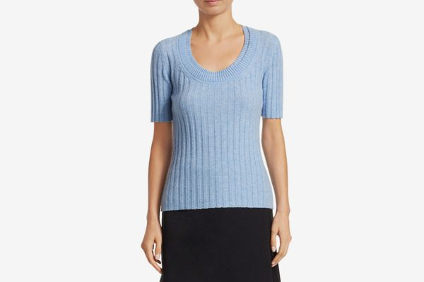 3.1 Phillip Lim Short Sleeve Cashmere-Blend Rib-Knit Top