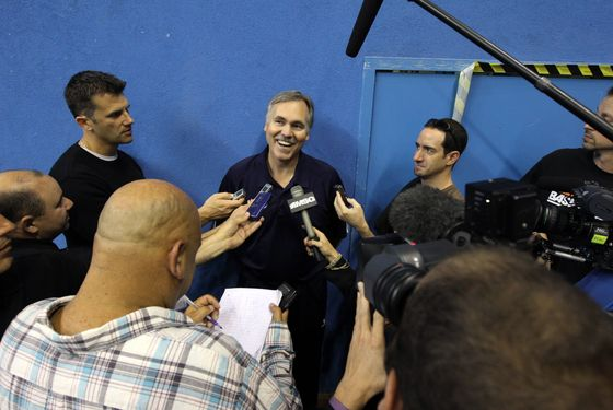 MILAN, ITALY - SEPTEMBER 30: Head Coach of the New York Knicks Mike D'Antoni addresses the media after practice on September 30, 2010 in Milan, Italy. NOTE TO USER: User expressly acknowledges and agrees that, by downloading and or using this photograph, User is consenting to the terms and conditions of the Getty Images License Agreement. Mandatory Copyright Notice: Copyright 2010 NBAE (Photo by Nathaniel S. Butler/NBAE via Getty Images) *** Local Caption *** Mike D'Antoni