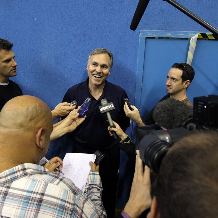 Head Coach of the New York Knicks Mike D'Antoni addresses the media after practice on September 30, 2010 in Milan, Italy.