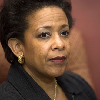 Loretta Lynch, nominee for US Attorney General, attends a meeting with US Senator Chuck Schumer, Democrat of New York, on Capitol Hill in Washington, DC, December 2, 2014.