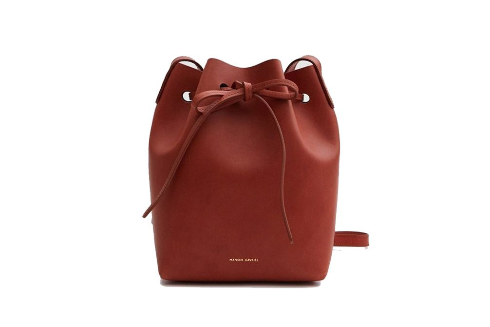 Mansur Gavriel Mini Mini Bucket Bag in Brandy/Brick