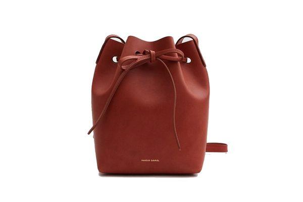 Mansur Gavriel Mini Mini Bucket Bag in Brandy/Brick