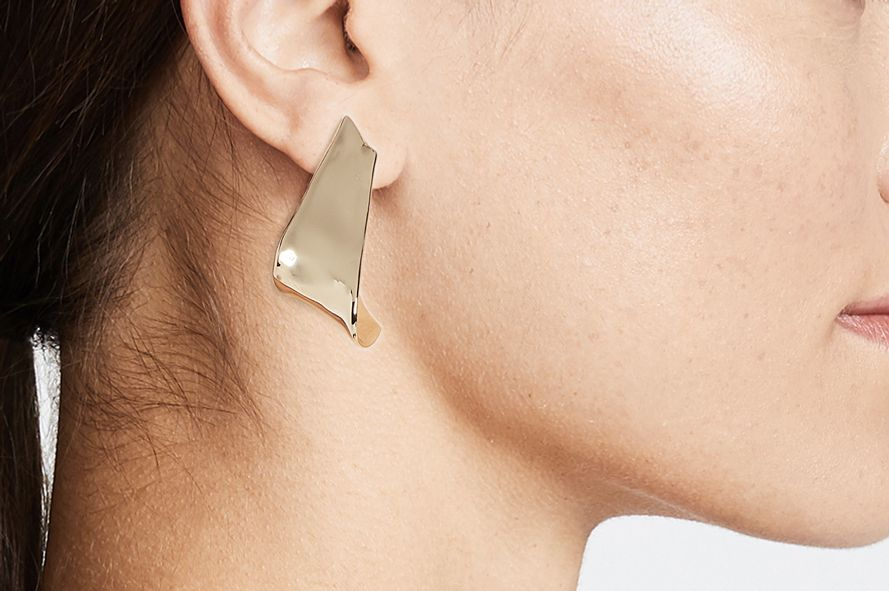 Alexis Bittar Flipped Watery Metal Clip On Earrings