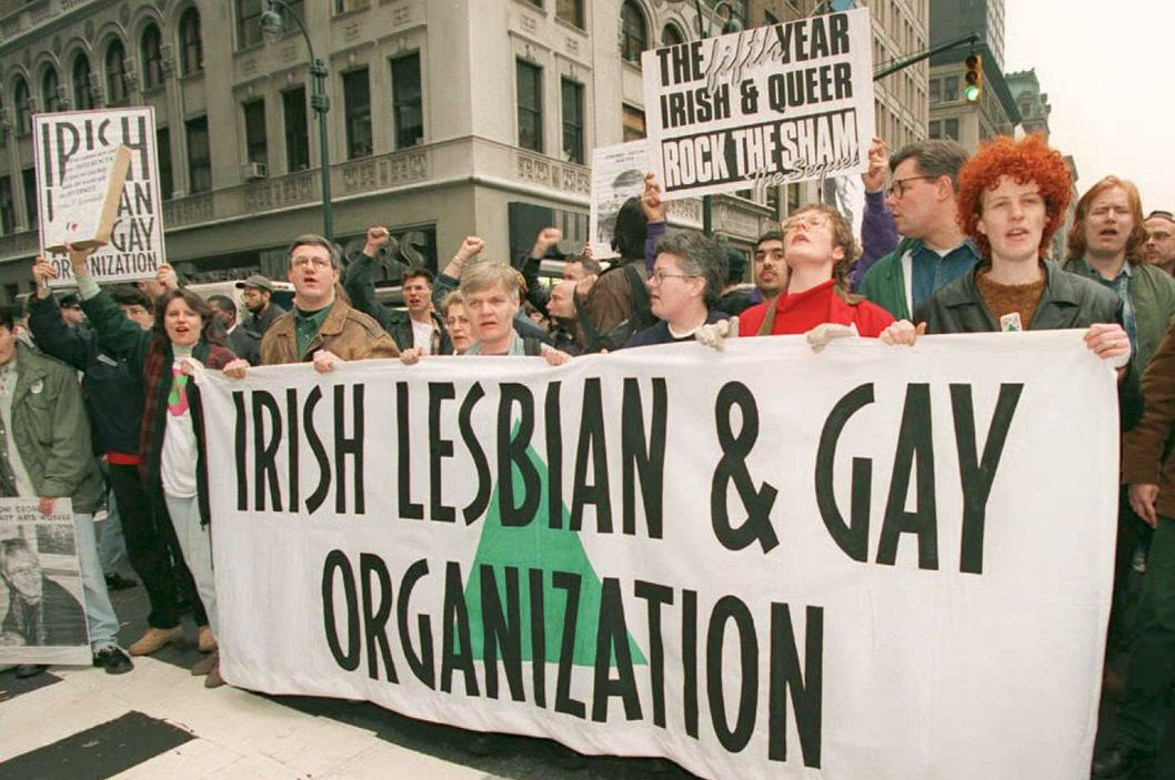 ILGO protests before the start of the 1995 parade.
