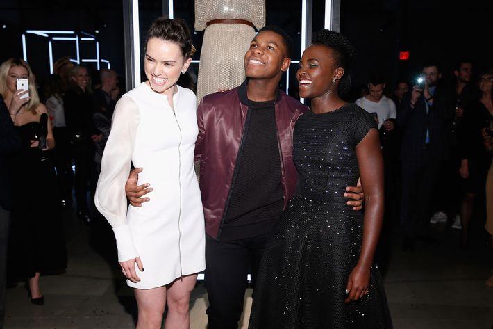 Daisy Ridley, Lupita Nyong'o, and John Boyega at the charity event <em>Star Wars</em>