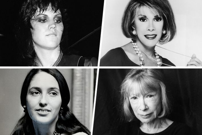 Clockwise, from top left: Joan Jett, Joan Rivers, Joan Didion, Joan Baez.