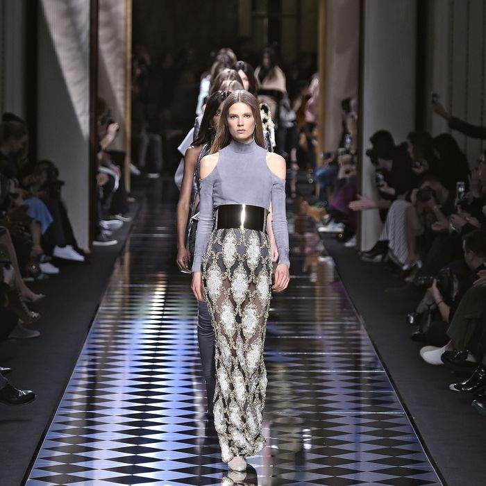 A look from the most recent Balmain show.